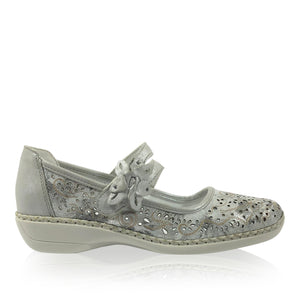 Rieker - 41372 -  Silver Comfort Shoes - Afterpay - Free Shipping