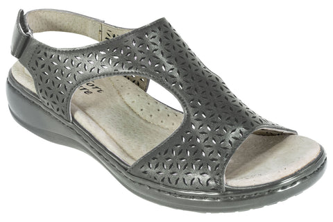 Comfort Leisure Summer Sandal - Lilian - Pewter - Sole Sister Shoes