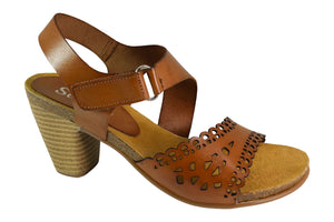 Marvel - Leather Comfort Heels - Tan - Sole Sister Shoes