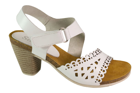 Marvel - Leather Comfort Heels - White - Sole Sister Shoes