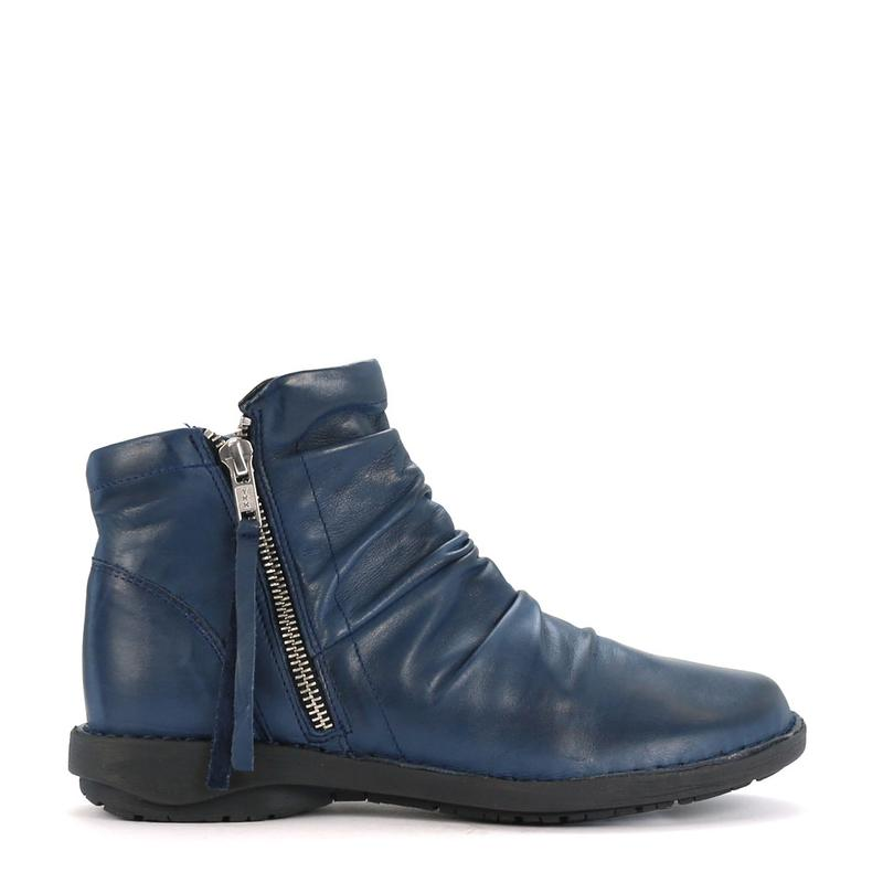 Effegie -Sukail - Navy Leather Ankle Boot - Sole Sister Shoes