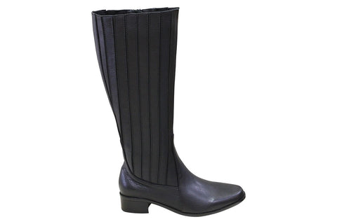 Chrissie - Ember - Black Leather - Tall Boot