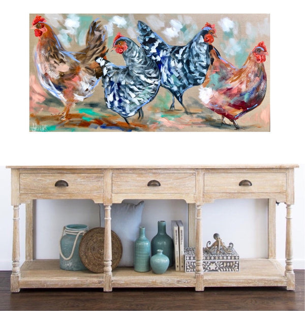 Happy hens  - original on Belgian linen 75 x150 cm