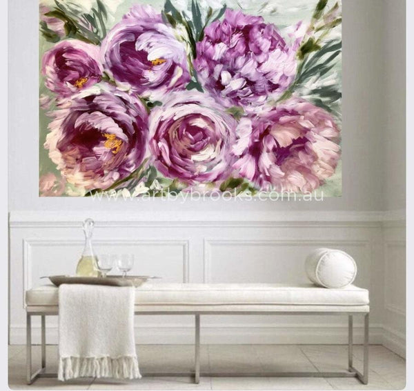 Amour Et Joie Peony -Original On Gallery Canvas 100X150 Cm Medium Sized Originals