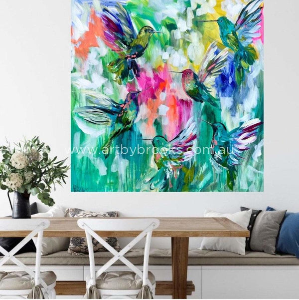 Angels Light The Sky - Original On Canvas 120X120Cm Medium Sized Originals