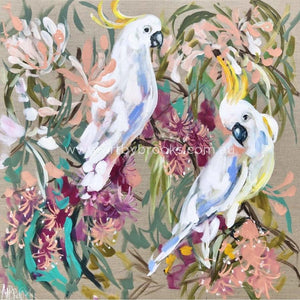 Australian Cockatoo And Gum Blossom -Original On Canvas 90 X90 Cm Original