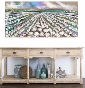 Australian Cotton Fields -Original On Belgian Linen 75X150 Cm Original