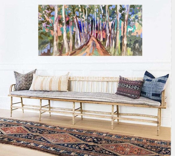 Avenue Of Lemon Scented Gums - Original On Canvas 75 X150 Cm Originals