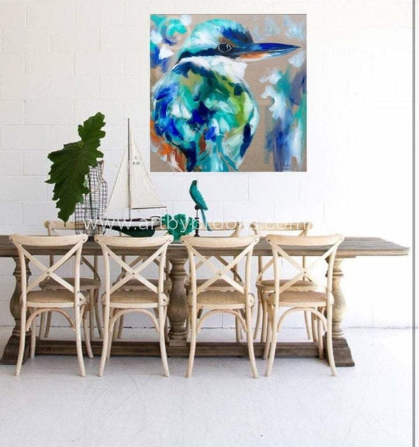Azure - Original On Belgian Linen 90 X90 Cm Originals
