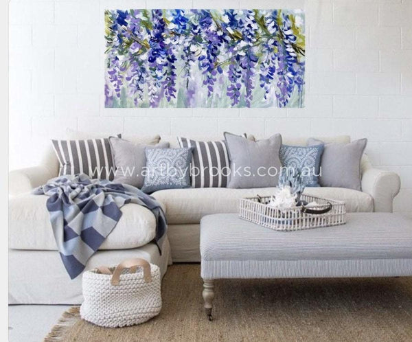 Blue Heaven Wisteria - 75X150 Cm Original On Canvas Original