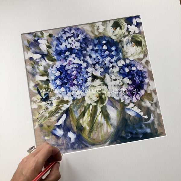 Blue Wren And Hydrangeas - Matte Board Print Art