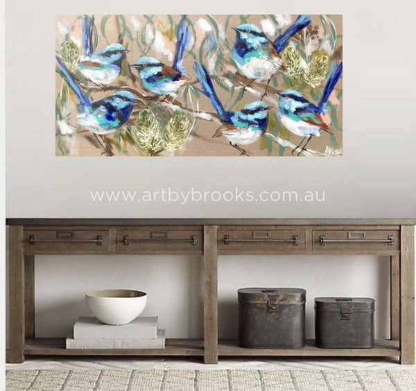 Blue Wrens And Flowering Banksia -Original On Belgian Linen 75 X150 Cm Originals