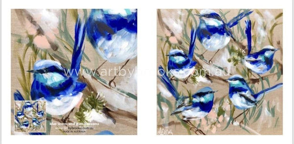 Blue Wrens And Gum Blossoms Cards