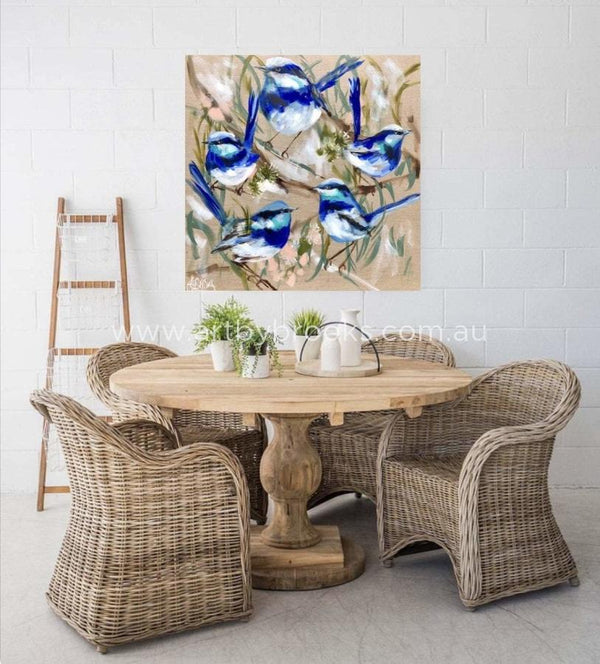 Blue Wrens And Gum Blossoms -Original On Belgian Linen 90X90Cm Original