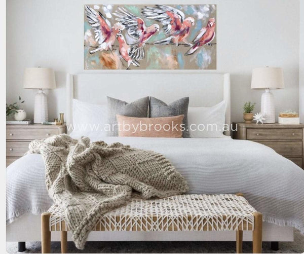 Blush Galahs - Original On Belgian Linen 75 X150 Cm