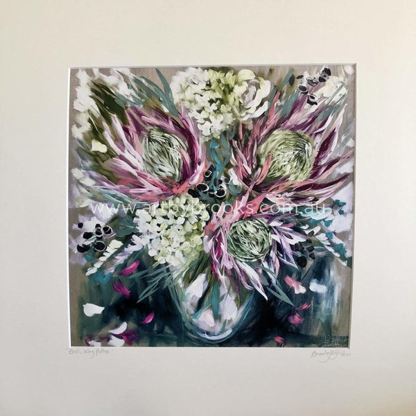 Blush King Protea - Matte Board Print Art