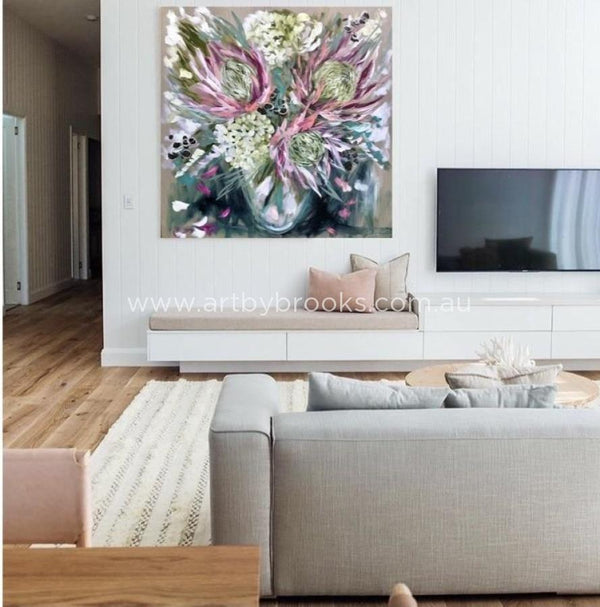 Blush King Protea - Original On Belgian Linen 120X120Cm Medium Sized Originals