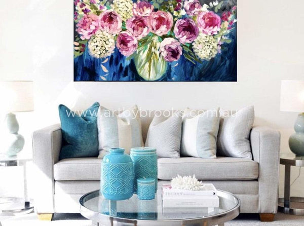 Blush Peony And White Hydrangea - Original On Canvas 75 X150Cm Originals