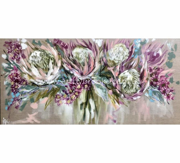 Blush Protea And Cascading Gum -Art Print Art