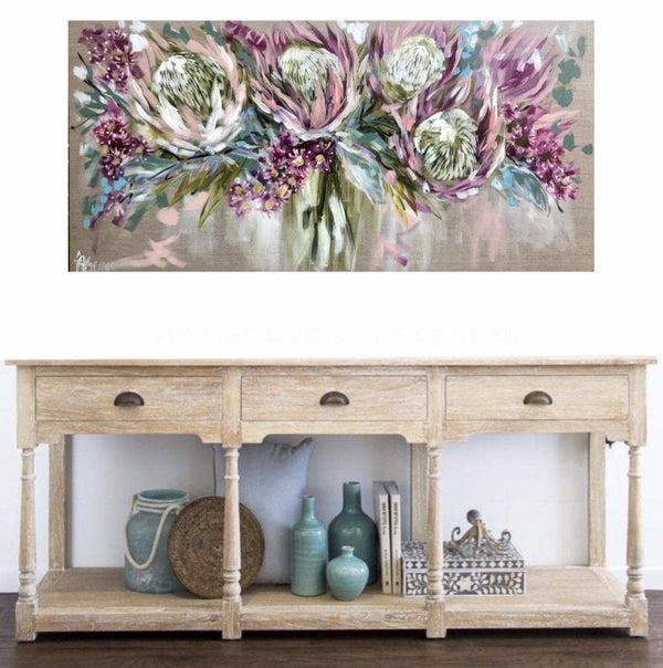 Blush Protea And Flowering Gum - Original On Belgian Linen 75 X150 Cm In Situ