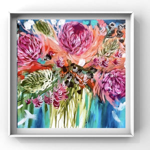 Blush Waratah Banksia And Gum Nuts -Art Print Art