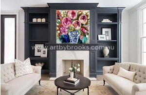 Bold Blooms With Antique Vase - Original On Belgian Linen 90X90 Cm Originals