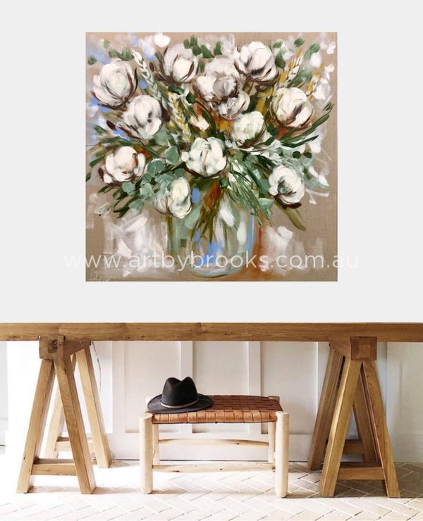 Bouquet Of Cotton Blooms -Original On Belgian Linen 90X90Cm Original