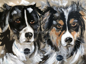 Bourbon And Titan - Pet Portrait 75 X100 Cm Pet