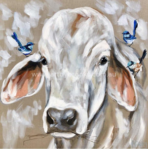 Bovine And Blue Wrens - Art Print Art