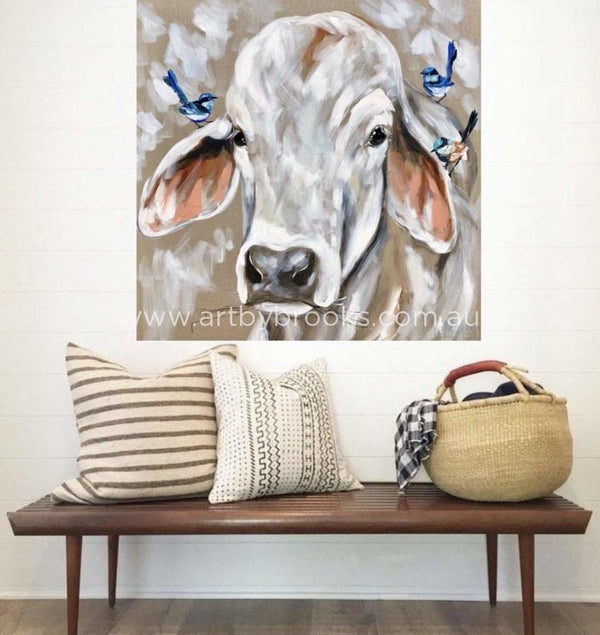 Bovine And Blue Wrens - Original On Belgian Linen 90X90 Cm Original