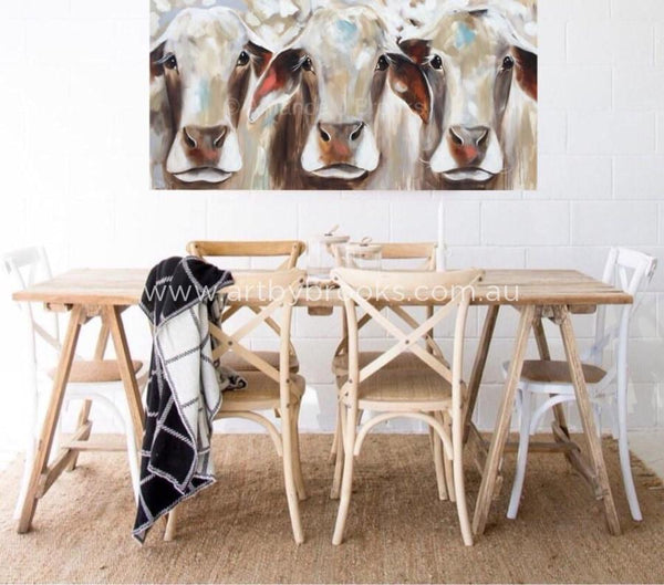 Bovine Beauties - Original On Canvas 75 X150 Cm Originals
