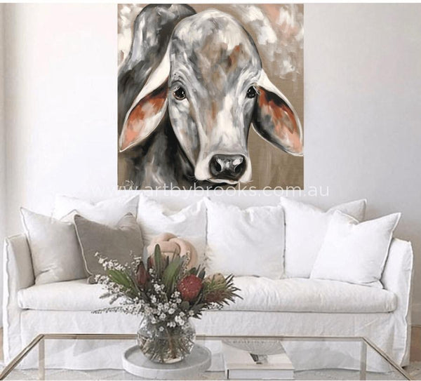 Bovine On Linen - Original 90X90 Cm Originals
