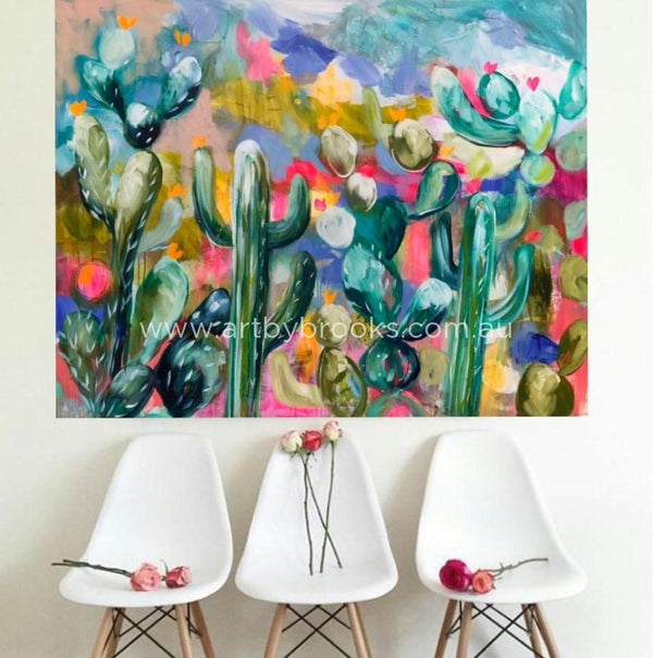 Cactus Lane - Original On Canvas -120 X150 Cm Originals
