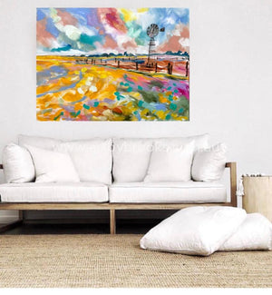 Canola At Sunset - Original On Canvas 90X120Cm Original