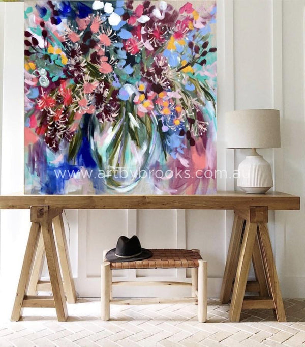 Cascading Gum Blossoms - Original On Belgian Linen 90X90Cm Originals