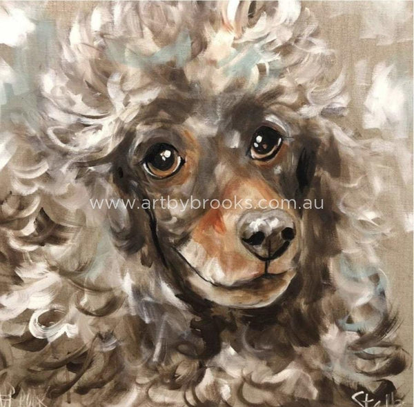 Chocolate Poodle - Art Print Art