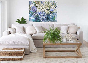 Coastal Hamptons Arrangement - Original On Belgian Linen 90X120 Cm Originals
