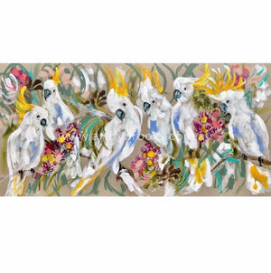 Cockatoos And Fragrant Gum - Original On Belgian Linen Originals