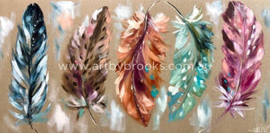 Coloured Quills - Original On Belgian Linen 75 X150 Cm Originals