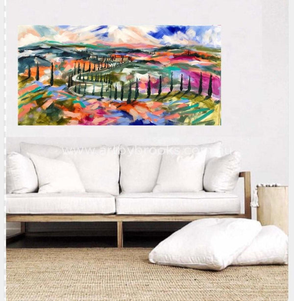 Colours Of Tuscany - Original On Canvas 75 X150Cm Original