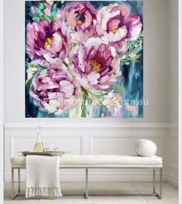 Count Your Blessings Peony - Original On Gallery Canvas 120X120Cm Medium Sized Originals