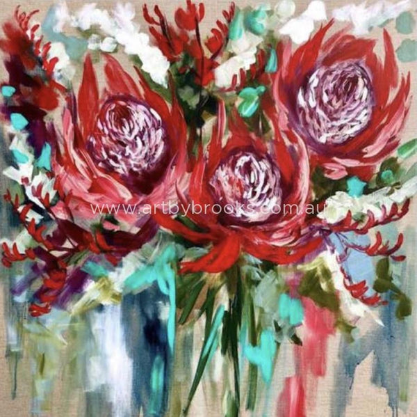 Crimson Waratah And Kangaroo Paw - Art Print Art