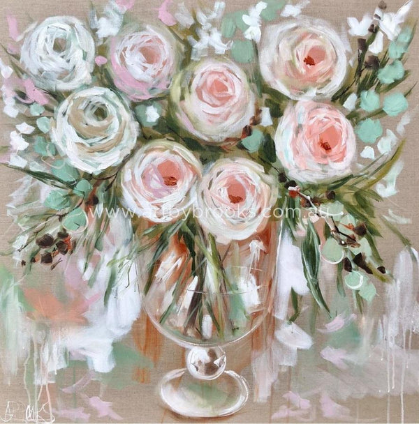 Delicate Rose And Eucalyptus - Art Print Art