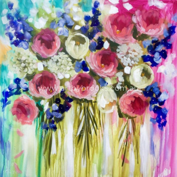 Delphinium Dance - Original On Canvas 120 X120 Cm Originals
