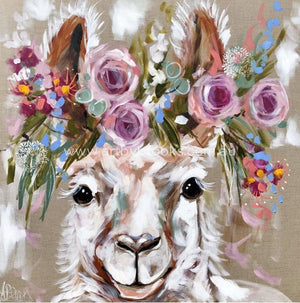 Dolly Llama -Original On Belgian Linen 90X90Cm Original