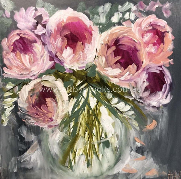 Double Peony And Freesia -Art Print Art