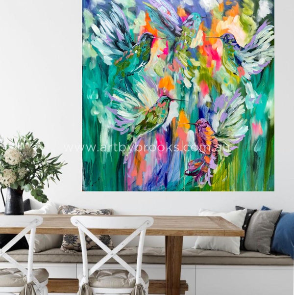 Dream Catcher Hummingbirds - Original On Gallery Canvas 120X120Cm Medium Sized Originals