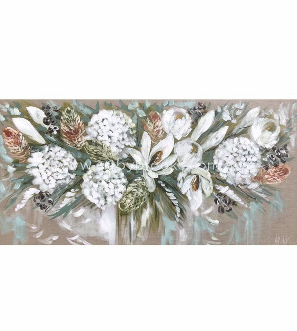 Elegant White Blossoms And Banksia - 75 X150 Cm Original On Belgian Linen