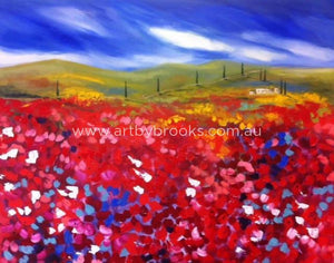 Fields Of Crimson - Original On Canvas 120 X150 Cm Originals
