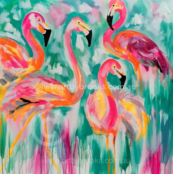 Flamingo Parade - Art Print Art Prints